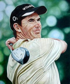 For just $2,200, you can own this original oil painting by Mark Baker of Padraig Harrington.