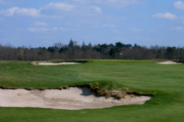 Rough-edged bunkers are a feature on Les Chateaux course at Golf du Medoc.
