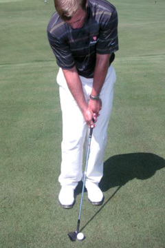 In a correct set-up for a proper pitch, the feet should be the length of a club head (5 inches) apart.