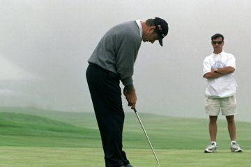 Thanks in part to the thumb pointing drill, Nick Faldo finished No. 1 in putting at the 2000 U.S. Open at Pebble Beach Golf Links.