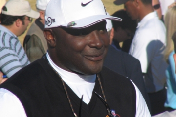 Sterling Sharpe is friendlier on the golf course than he was on the football field, unless he's just double bogeyed.