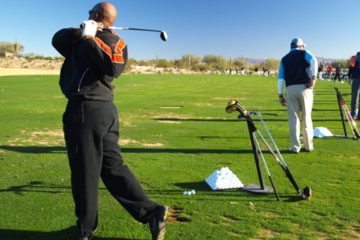 Driving range practice without a target will not get you to par on the course. Don't practice bad shots or poor habits.