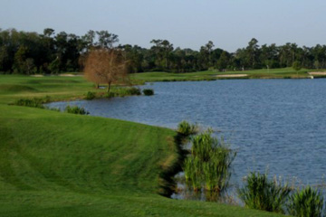 Want to hit the golf ball over this lake? Think about it first and find a spot for the ball to land.