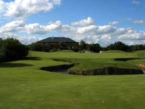 The handsome clubhouse overlooks the 18th green at The European Club.