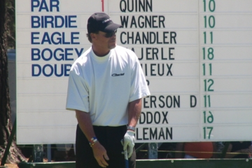 Former Bears quarterback Jim McMahon lines up a putt at a lake Tahoe celeberity tournament.