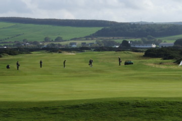 Golf carts are rare on Scotland courses. If you don't want to walk it, be sure to check with the club beforehand.