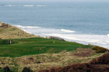 The fifth green offers the finest of Royal Portrush Golf Club's many sea views.