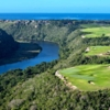 An aerial view of the 13th and 15th holes on Dye Fore course at Casa de Campo