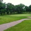 A view of a green with bunkers coming into play at Dahlgreen Golf Club