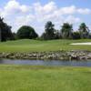 A view of a green with water coming into play at Orangebrook Country Club