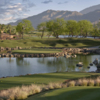 A view of the 17 green surrounded by water at PGA West Stadium Course
