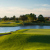 A hole surrounded by water at Eagle Creek Golf Club